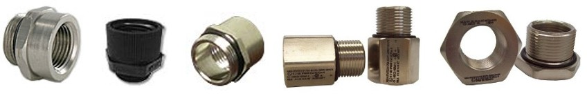 Thread Adapters: Aluminum, Black Nylon, Nickel Plated Brass, Stainless Steel