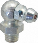 1/4-28 SAE-LT 90° Grease Fitting: Steel, Clear Zinc Plated