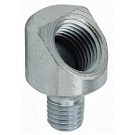 Grease Fitting Adapter: 1/4-28 SAE-LT (male) to 1/8-27 NPTF (female), 45° Elbow
